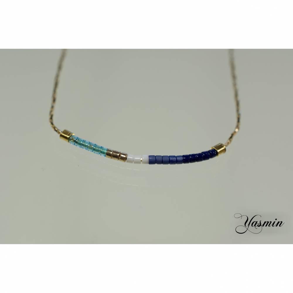 Blautöne an goldfilled Kettchen - Seablue Bild 1