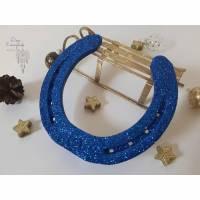 Hufeisen Glücksbringer mit Glitzer blau, Deko, Weihnachten, Geschenk Bild 1