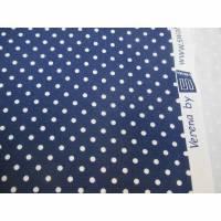 Jersey Baumwoll Jersey Verena Punkte  Dots Tupfen 3 mm dunkelblau - weiß, Oeko-Tex Standard 100(1m/13,-€) Bild 1