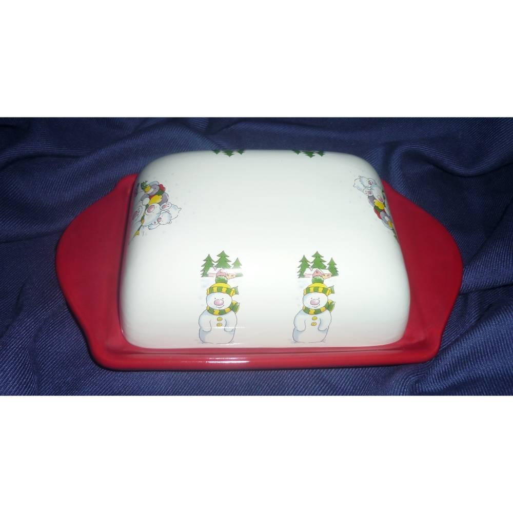 Butterdose für Weihnachten Weihnachtsmotive,Tannenbaum,Schneemann Bild 1