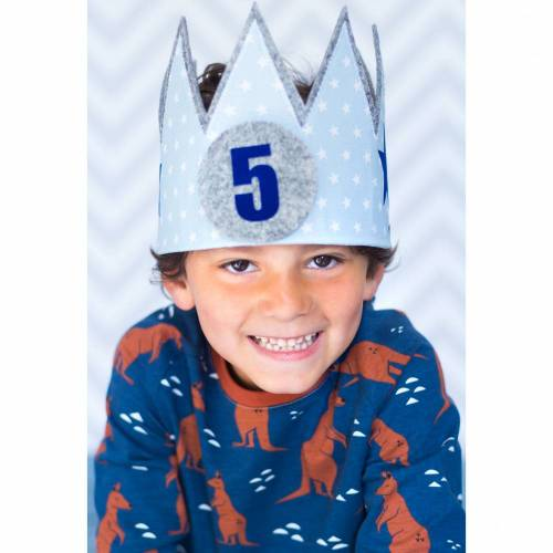 Geburtstagskrone Hellblau - Stoffkrone mit austauschbaren Zahlen