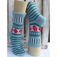 Handgestrickte Wollsocken in Fair Isle Technik  * Gute Laune Socken * Gr.40 - 42 Bild 1