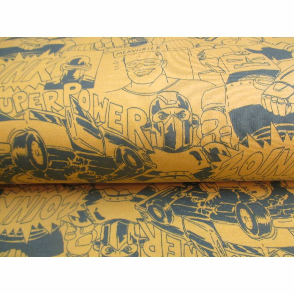 Sweat  Helden Superhelden unangeraut Senfgelb Oeko-Tex® Standard 100 (1m/12,-€)  Bild 1