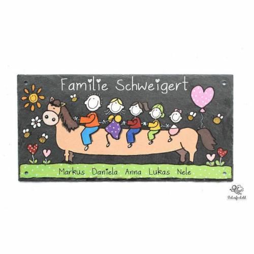 Türschild Schiefer Reitersfamilie Pferd Wunschfamilie handbemalt