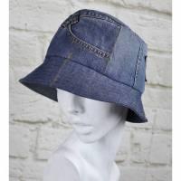 Upcycling Bucket Hat Fischerhut Mütze Größe 56 Glockenhut Jeans Denim Blau Stern Used Bild 1