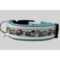 Hundehalsband »WinterFUN snowblue« mit echtem Leder unterlegt aus der Halsbandmanufaktur von dogs & paw Bild 1