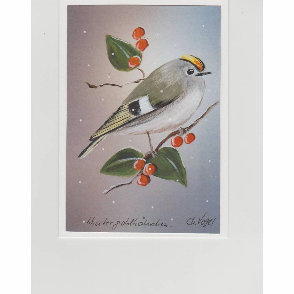 Grußkarte-  Wintergoldhähnchen-  handgemalt Bild 1