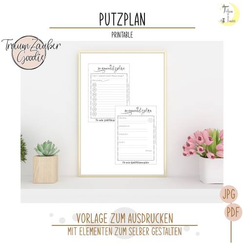 Freebie Putzplan Printable Druckvorlage