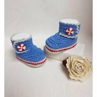 Babyschuhe gehäkelt, Babybooties, Maritim Bild 1