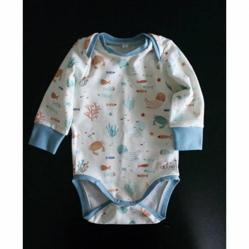Body für Babys aus BIO Baumwolle mit Schlupfausschnitt und langen Ärmeln Stoff Ocean Party designed by Puck für Stoffonkel