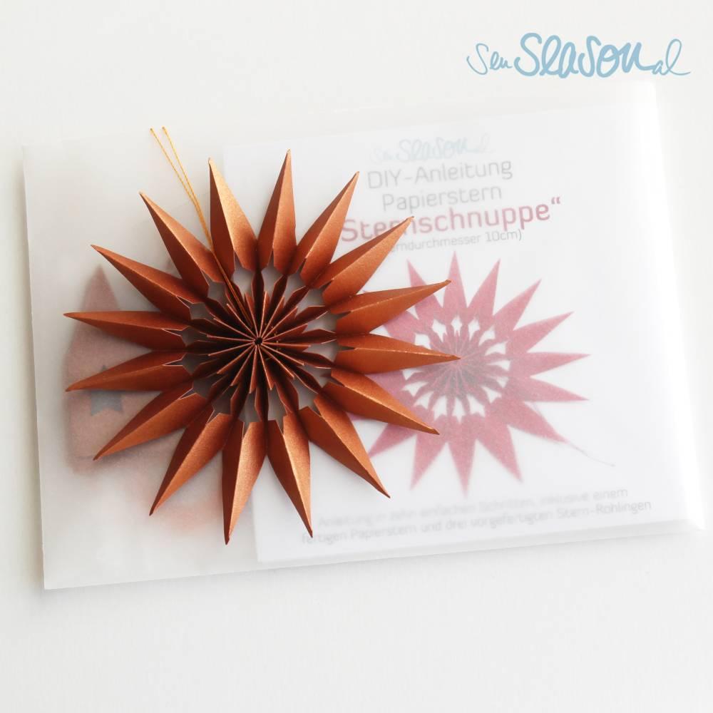 """DIY-Anleitung Papierstern """"Sternschnuppe"""", inkl. 1 fertiger Stern und 3 Stern-Rohlinge in kupfer, Größe: 10cm Bild 1"""