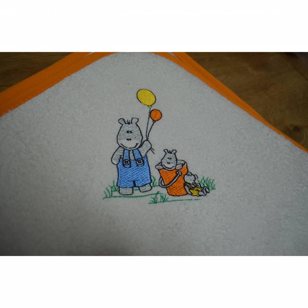 Kapuzenbadetuch - weiß - Nilpferd Bild 1