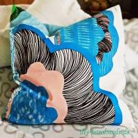 maritimer bunter Kissenbezug für drinnen und draußen, Canvastoff, Kissen mit Innenkissen 50x50 cm, Unikat Bild 1