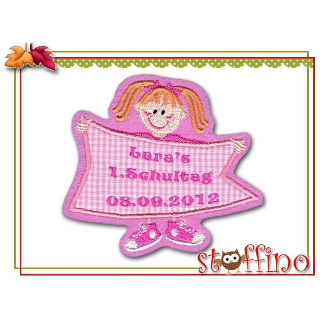 Applikation Schulkind Einschulung Mädchen Wunschname rosa Bild 1