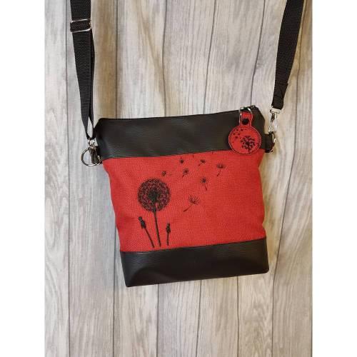 Pusteblumen Handtasche rot Umhängetasche Kunstleder schwarz rot Dandelion Geschenkidee Geschenk