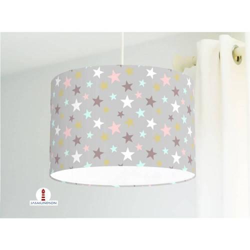 Lampe Kinderzimmer Sterne Ocker Türkis Altrosa auf Grau aus Baumwollstoff - alle Farben möglich