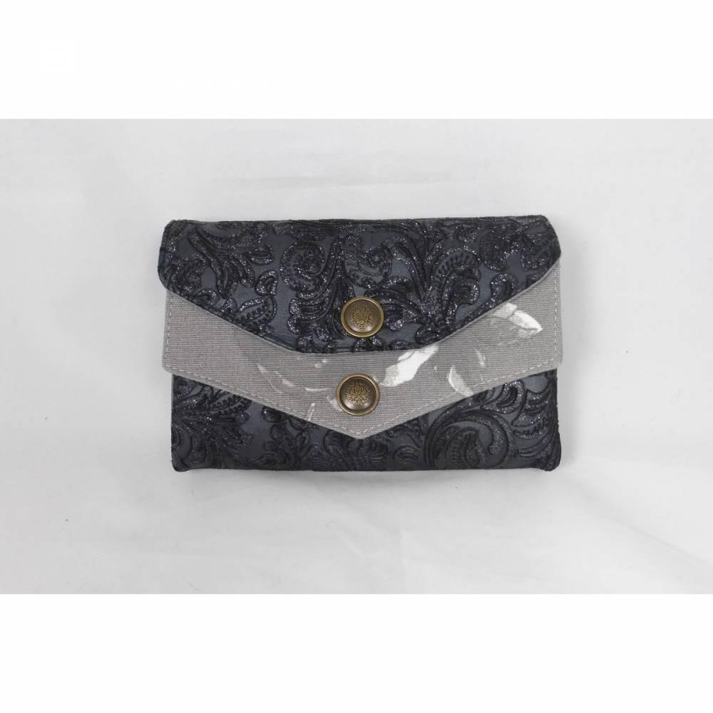 Geldbörse, Portmoney-Genius, aus schwarzem Leder mit Muster und Baumwollstoffen in grau und weiß, 11 Kartenfächer, großer Geldbeutel, handgemacht von Dieda Bild 1