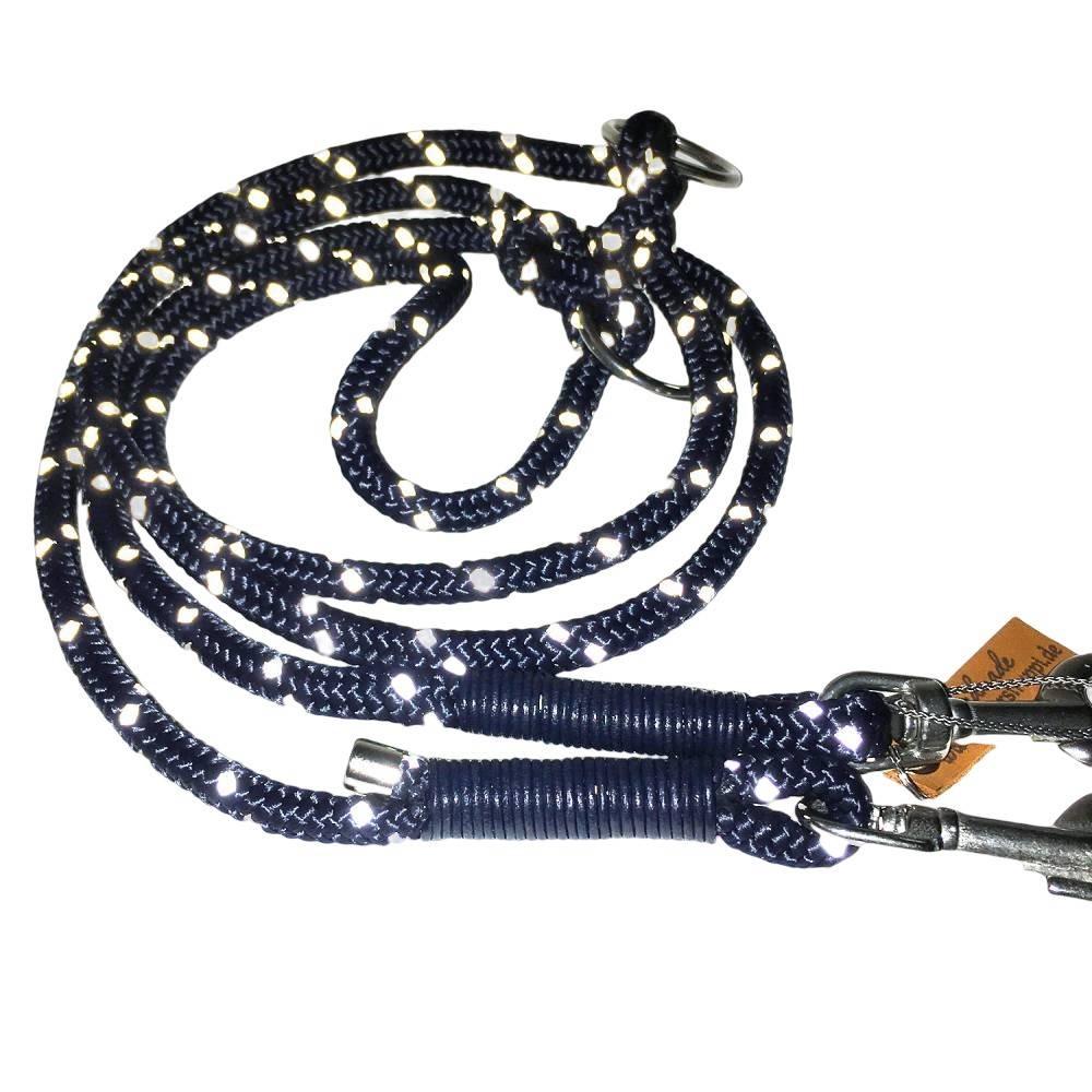 Reflektierende Hundeleine verstellbar Tau blau AlsterStruppi Bild 1