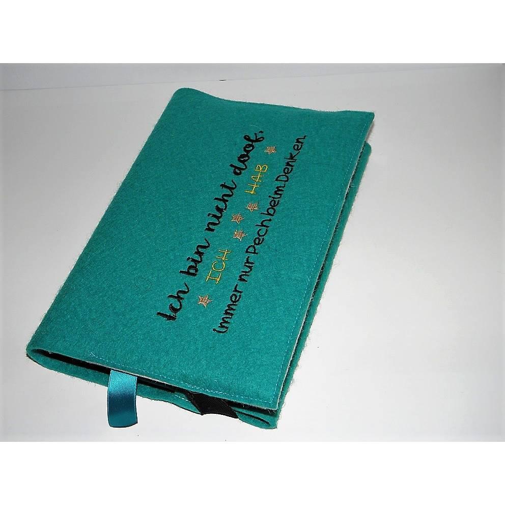 Kalenderhülle aus Wollfilz, bestickt, variabler Einband, türkis, Fächer für Visitenkarten, passend für viele Kalender, handgemacht von Dieda Bild 1