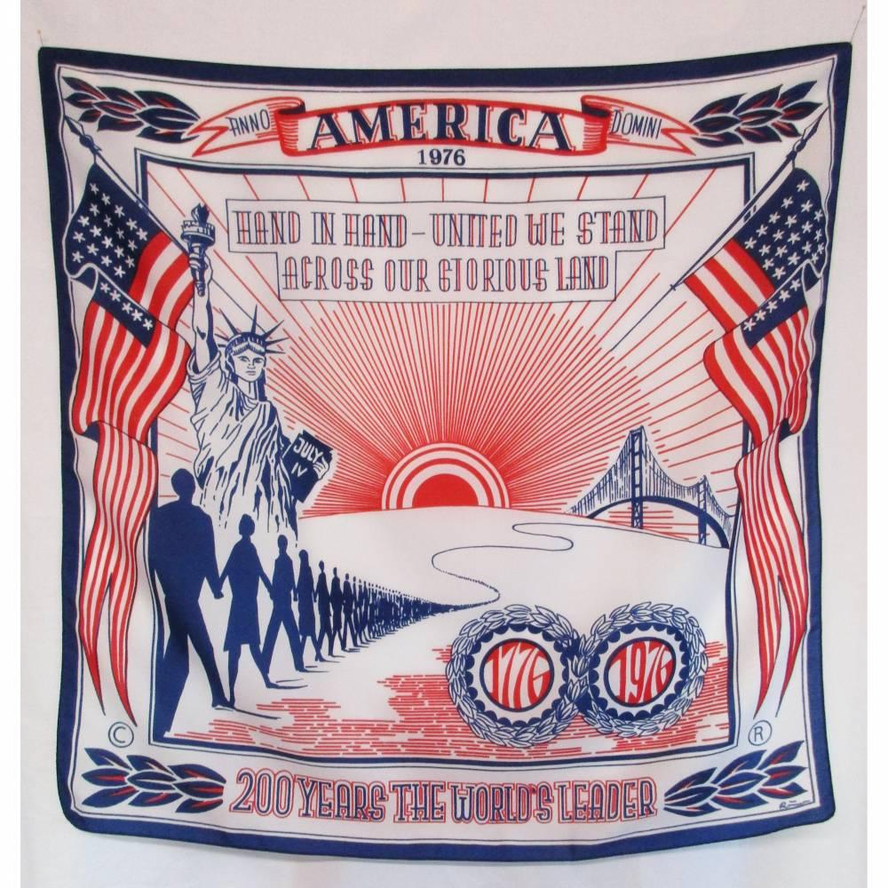 Vintage Sammler Tuch Amerika 1976 Blau Weiß Rot Römer 200 Years the World`s Leader Halstuch Krepp Schal Vierecktuch Bild 1
