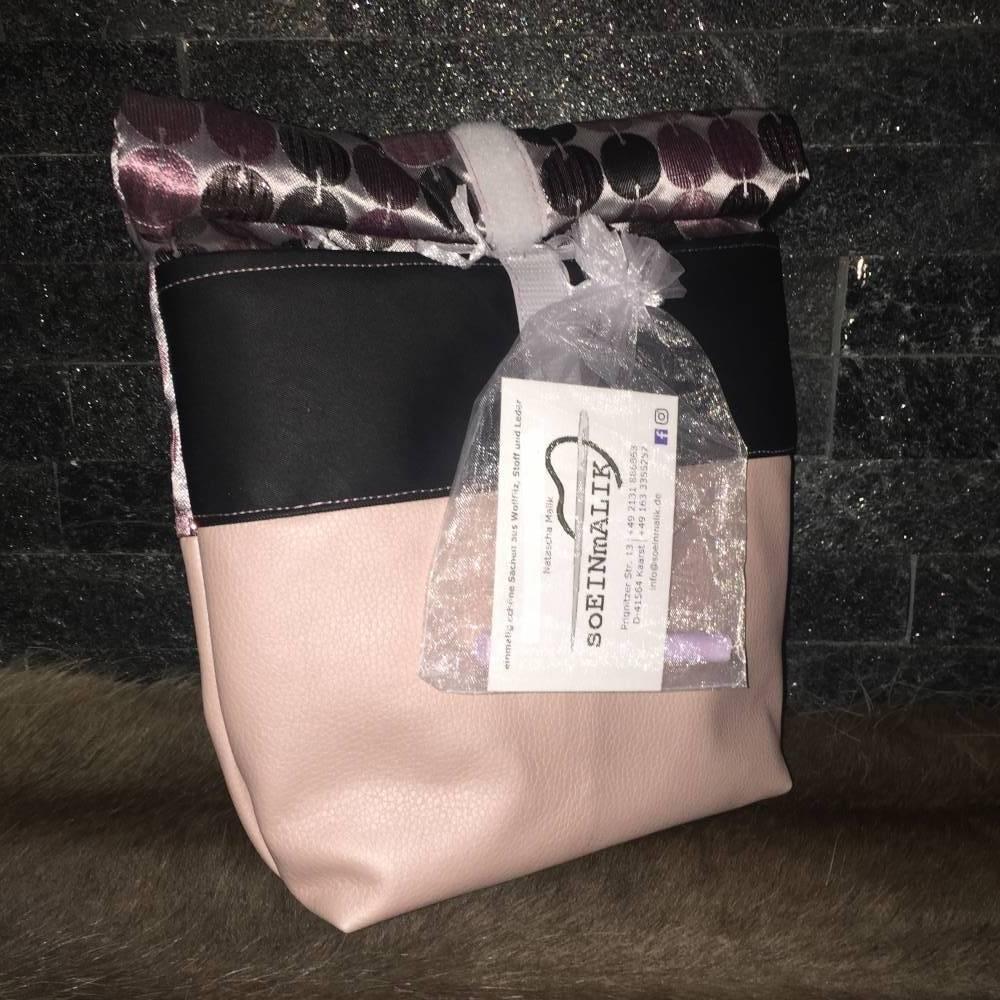 Lunchbag Brotbeutel Frühstücksbeutel Rosatöne Tafelstoff zerowaste * Einzelstück *  Bild 1