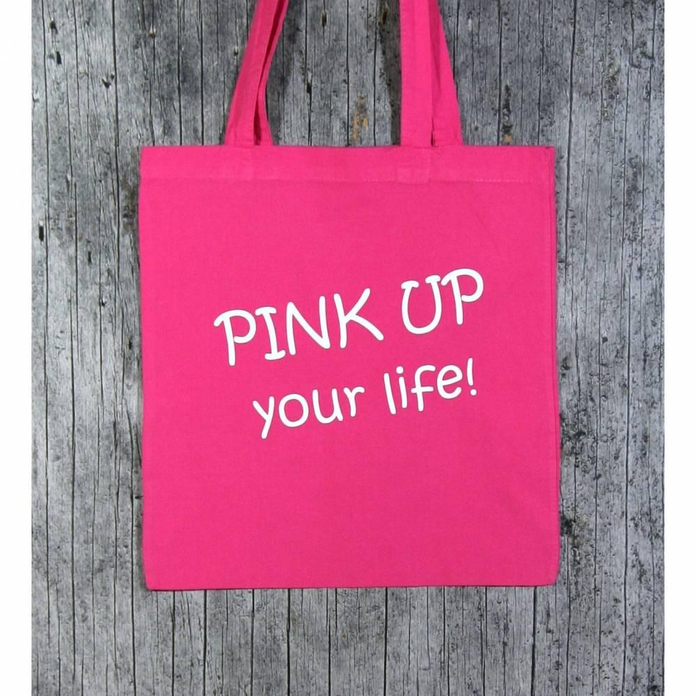Stofftasche **PINK** von ZWEIFARBIG Einkaufsbeutel Shopper Geburtstag Mottoprint Baumwolltasche Stoffbeutel Geschenk Einkaufstasche Bild 1
