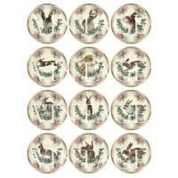 A4 Motivbogen ~ 12 Papieraufkleber  ~  HASE ~ rund ~Kreis ~Kreise ~Vintage~Shabby  ~ No.81b Bild 1