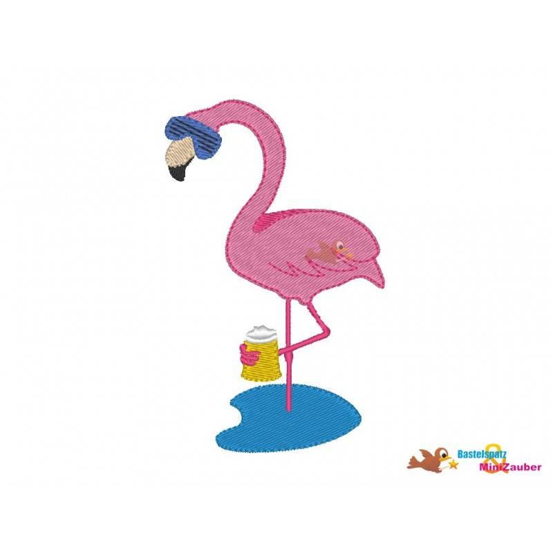 Stickdatei Flamingo Bier Vollstick 10x10 Bild 1
