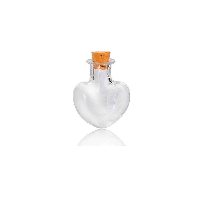 5 Glasflaschen mit Korken,zum Befüllen, Herz, Herzform, Glasherz Bild 1