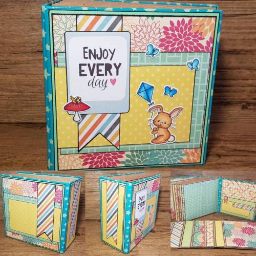 "Minialbum Fotoalbum Scrapbook handmade ""Enjoy every day"" Handarbeit Scrapbooking Album Erinnerungsalbum mini Album baby bunt Sammelalbum"