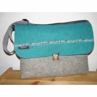 Musikschultasche, Kindertasche mit Webband aus Wollfilz zum Umhängen, grau und türkis, handgemacht von Dieda Bild 1