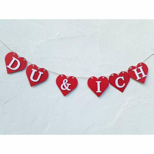"""Herzgirlande """"Du & Ich"""" aus Papier, rote Herzen, Liebe, Jahrestag, Heiratsantrag, Verlobung, rote Herzen, Papierdeko, Wimpel"""