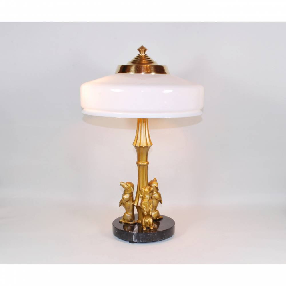 UNIKAT Dackel Tischlampe 42 cm Bild 1
