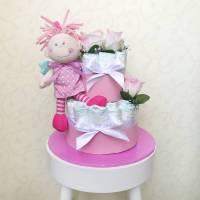Windeltorte Schutzengel, rosa zur Geburt oder Taufe Bild 1