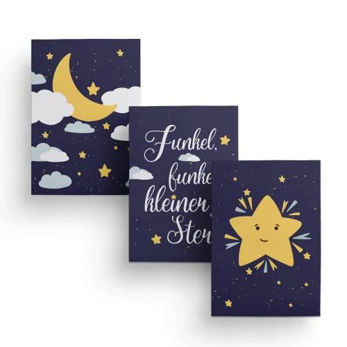 """Kinderzimmer Poster """"Mond & Sterne"""" - 3er Set Wandbilder in DIN A4 - Kinderposter - Poster für Kinder- und Babyzimmer"""