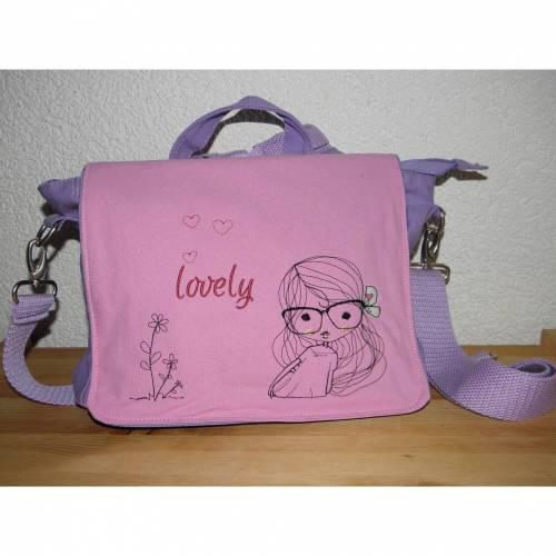 Kindertasche für Mädchen, Kinderrucksack, Umhängetasche, Kindergartentasche, lila und pink, bestickt, Cute Girl
