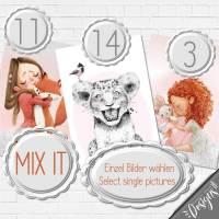 EINZELBILDER MIXEN | Druckbare Kinderzimmer Bilder Babyzimmerzimmer Kinderbilder Tiere Bild Poster Kunstdruck in A4 & A3 | MIX Bild 1