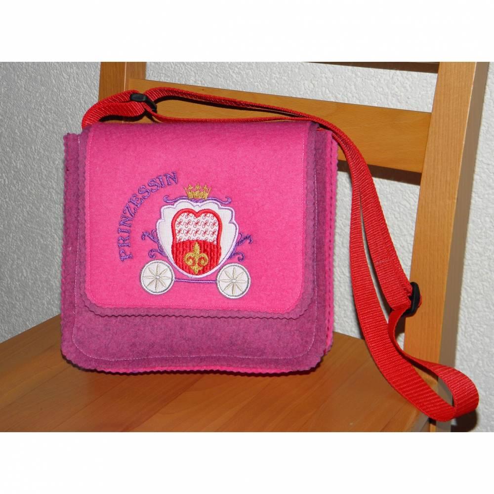 Kindertasche für Mädchen, Umhängetasche, Kindergartentasche, rosa, bestickt, Prinzessinnenkutsche, hangemacht von Dieda Bild 1