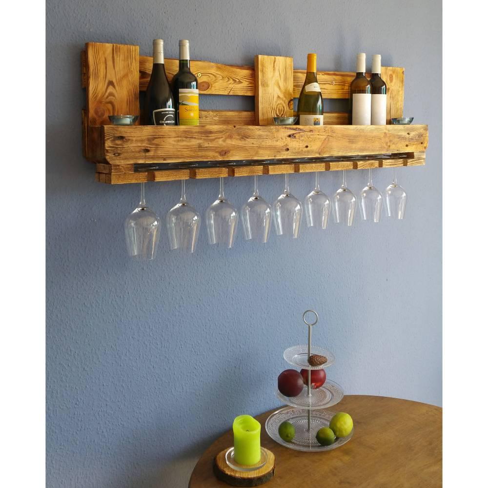 Vintage WEINREGAL PALETTE Regal aus Holz RUSTIKAL Flaschenregal Altholz Wandregal Hängeregal Geschenk Holzregal Wein Bar Gläser Industrial Bild 1