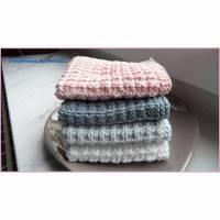 Handgestrickte Waschlappen, Seifentuch, Baumwolle, grau weiß rosa Bild 1