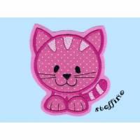Applikation Katze pink Punkte zum Aufbügeln Bild 1
