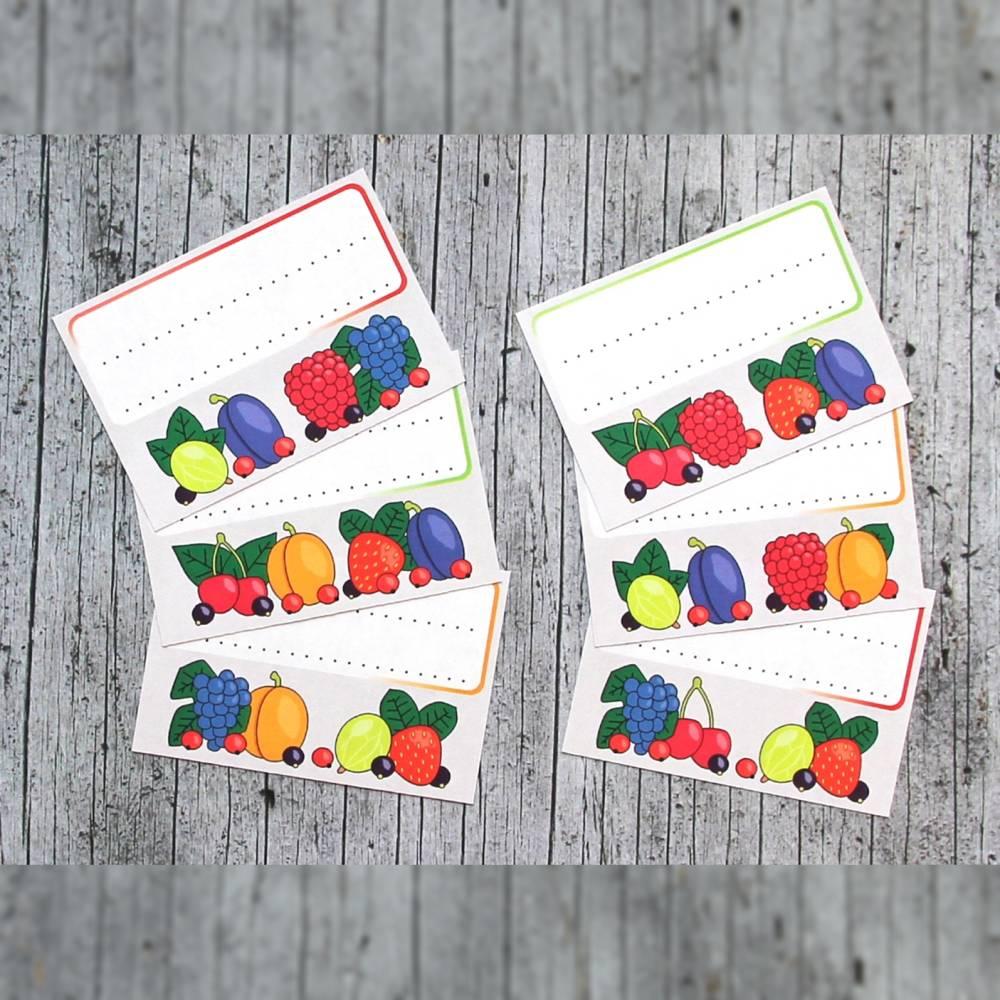 Einmachetiketten **Früchtchen1** von ZWEIFARBIG 12 Stück gummiertes Papier Etiketten Aufkleber Sticker Einmachsticker Marmeladenetiketten Dekoration Bild 1