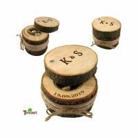RINGBOX aus einem BAUMSTAMM + GRAVUR Vintage Hochzeit Holz Ringkissen Ringschatulle Ringschachtel Eheringe Natur Alternativ Personalisiert Bild 1