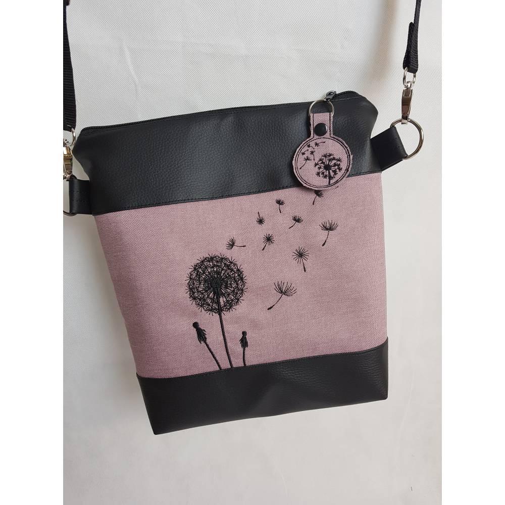 Handtasche Pusteblume Umhängetasche Pusteblume rosa Kunstleder mit Anhänger Tasche handmade … Bild 1