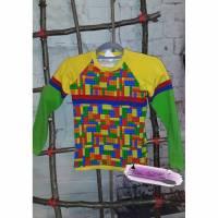Langarm Shirt Gr. 134 Jersey Bausteine bunt  Bild 1