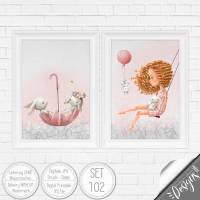 Druckbare Kinderzimmer Bilder Kinder Bild Waldtiere in A4 & A3  SET 102 Bild 1