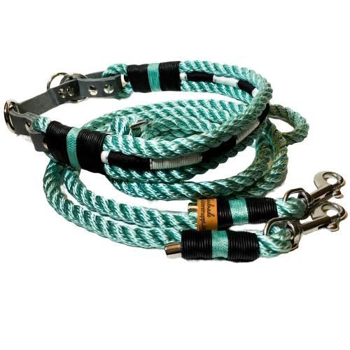 Leine Halsband mit Zugstop Set mint, für mittelgroße Hunde, verstellbar
