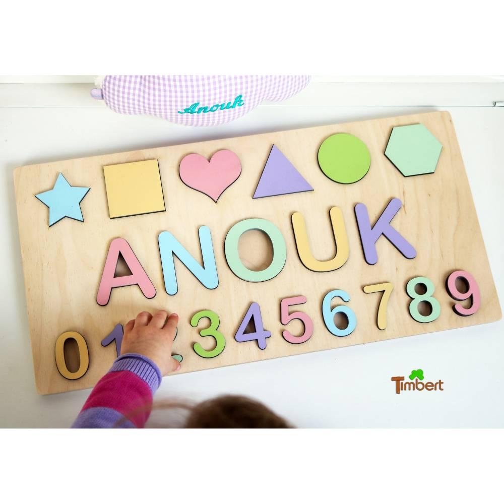 HOLZ PUZZLE mit Namen Zahlen Formen Pastell Farben Montessori Personalisiert 1. 2. 3. Geburtstag Baby Geschenk Neugeborene Geburt Kinder Mädchen Jungs Spielzeug Bild 1