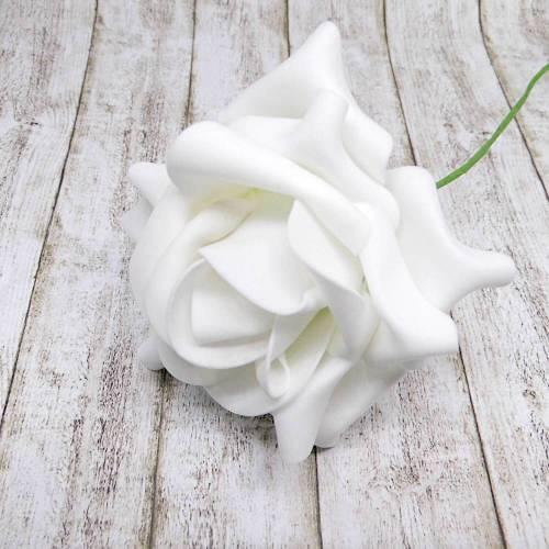 4 Foamrosen weiß ca. 10 cm
