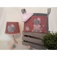 Lampenbezug Windelutensilo Babyset bestickt mit Katze personalisiert mit Name Bild 1